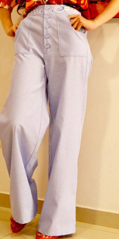 Pantalón tiro alto Azul